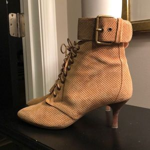 Handmade perforated tan bootie